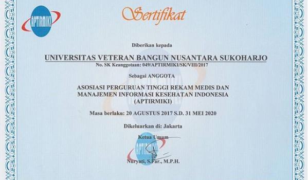 Prodi Perekam Medis & InfoKes FKM UNIVET, telah tergabung sebagai anggota APTIRMIKI